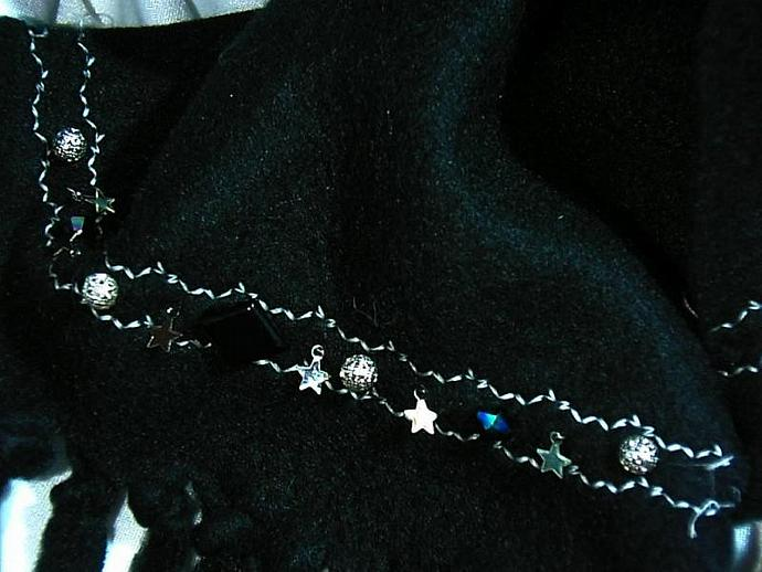 Lovely hand beaded black fleece scarf with celestial crystals and decorative