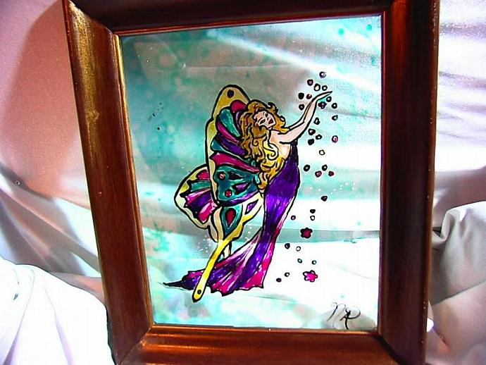 Butterfly Fairy painting Faux Stained Glass Window- weather safe