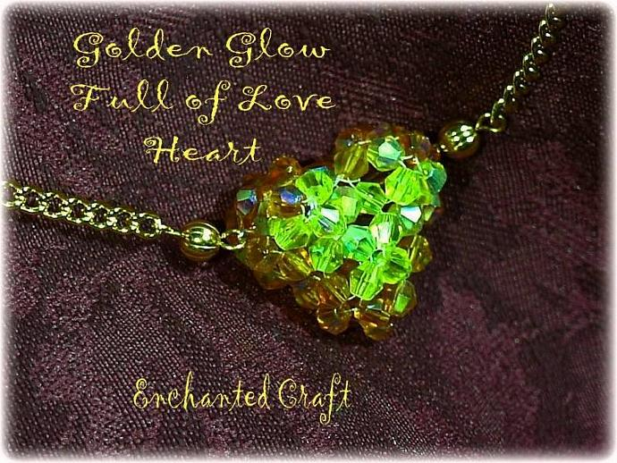 Full of Love beaded celestial crystal heart necklace- Golden Glow