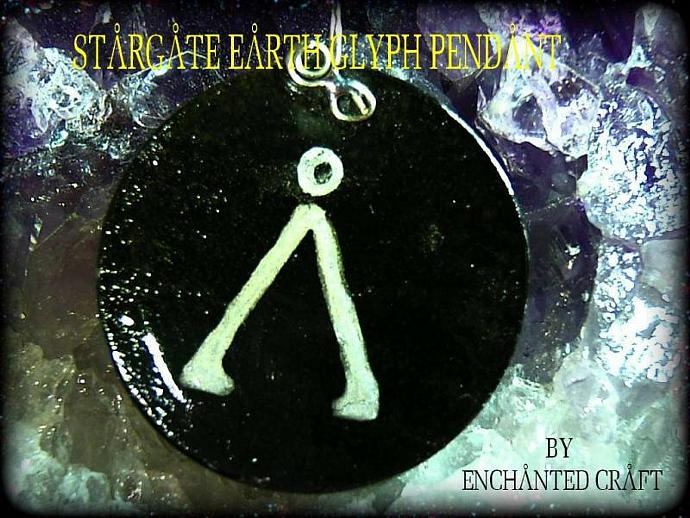 STARGATE LOVERS- own a handpainted earth glyph pendant in black and silver