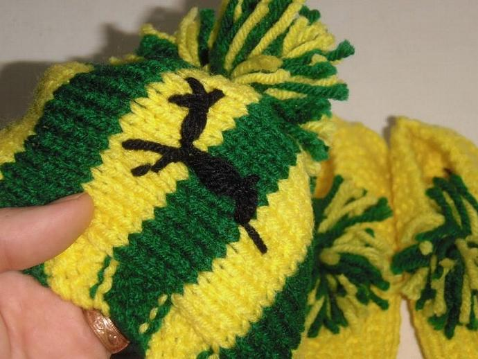 Hand knitted designer JOHN DEER bootie and hat SET about size 3 WASHABLE