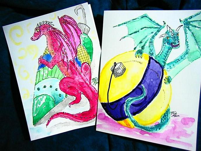 handpainted watercolor Spicy Dragon Christmas Helpers greeting cards