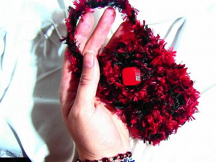 red and black Designer knitted eyelash cell phone, ipod, or camera case, bag,