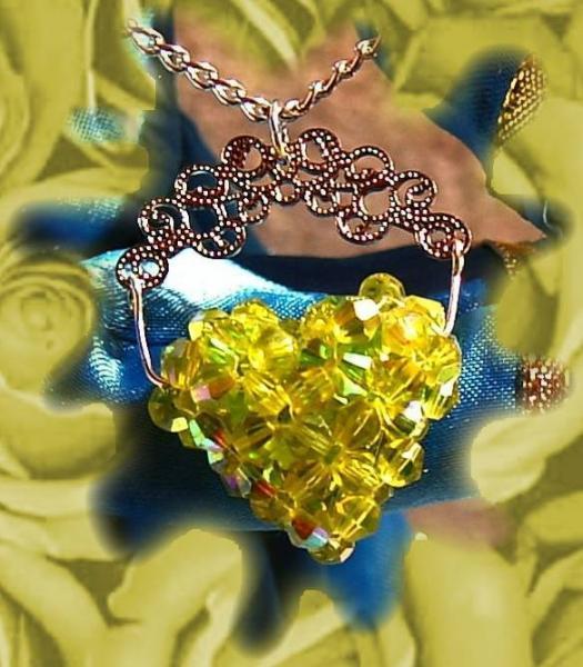 Full of Love beaded celestial crystal pendant heart- peridot color