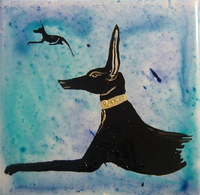 Egyptian god ANUBIS painted ceramic tile- great for Stargate lovers