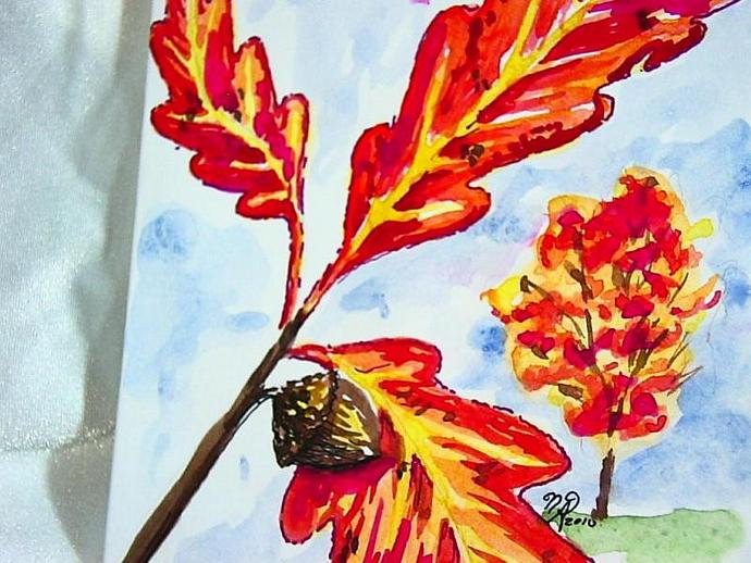 original hand painted autumn leaves greeting cards PAIR blank on the inside with
