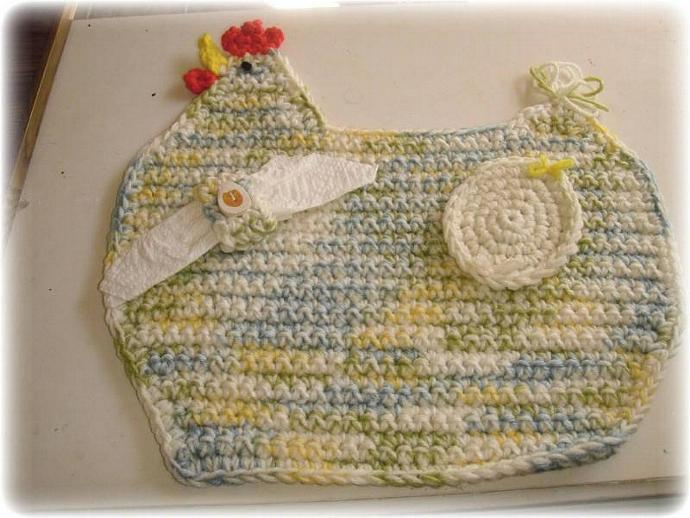 fun and funky yellow, cream, blue and green CHICKEN placemat with bonus egg