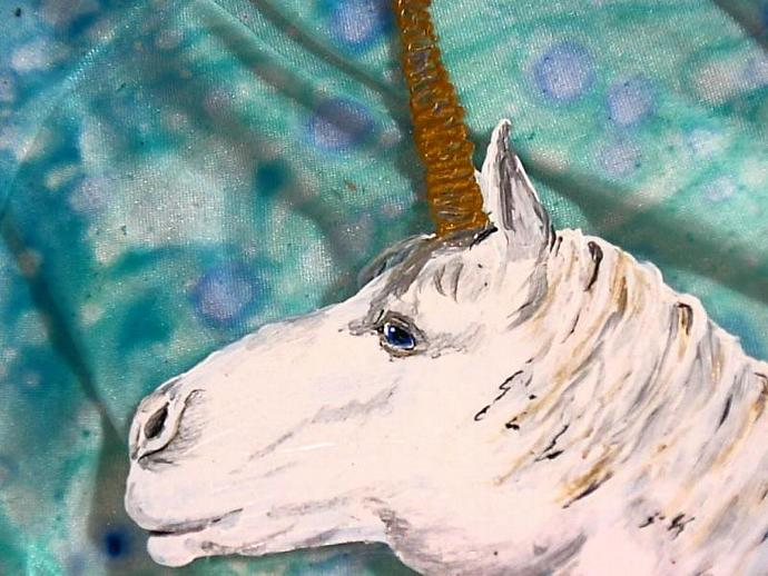 Misty Dreams- Hand painted Unicorn on a glass plate OOAK