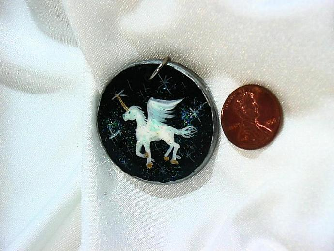 Hand painted White Flying Unicorn wood necklace