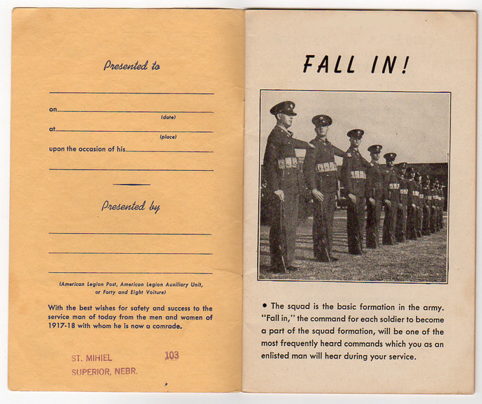 Fall In American Legion WW2 Recruitment Pamphlet Book 1941 Military Service
