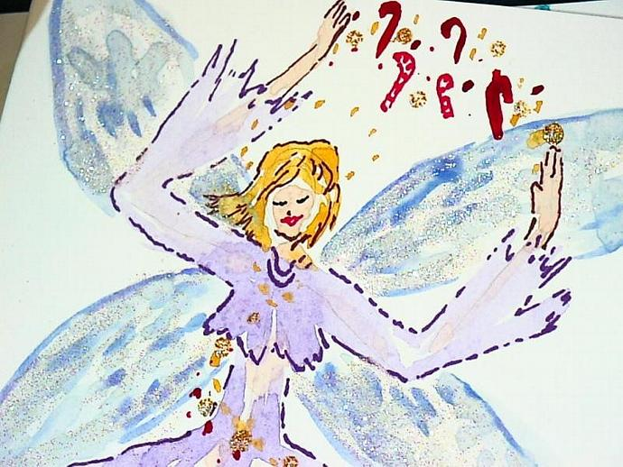2 handpainted watercolor cards winter fairies for the holidays with matching