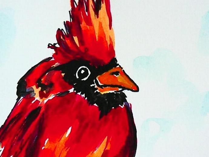 handpainted watercolor bird cards cardinal and red blackbird