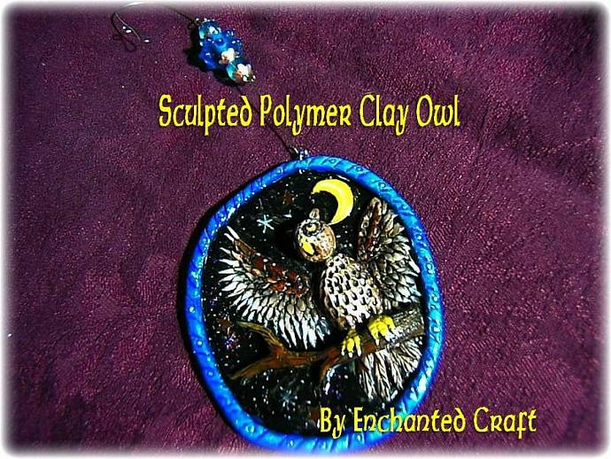 OWL Christmas Ornament - hand painted sculpted polymer clay with beaded hook,