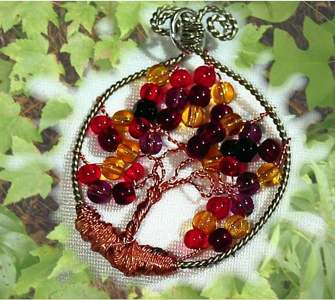 Fall 1 a tree of life glass and nickel silver and copper wire pendant