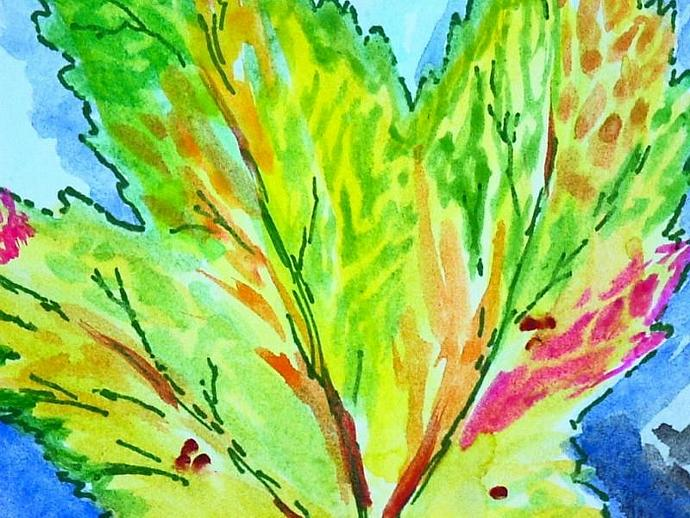 set blank Autumn leaves hand painted watercolor greeting cards PAIR with