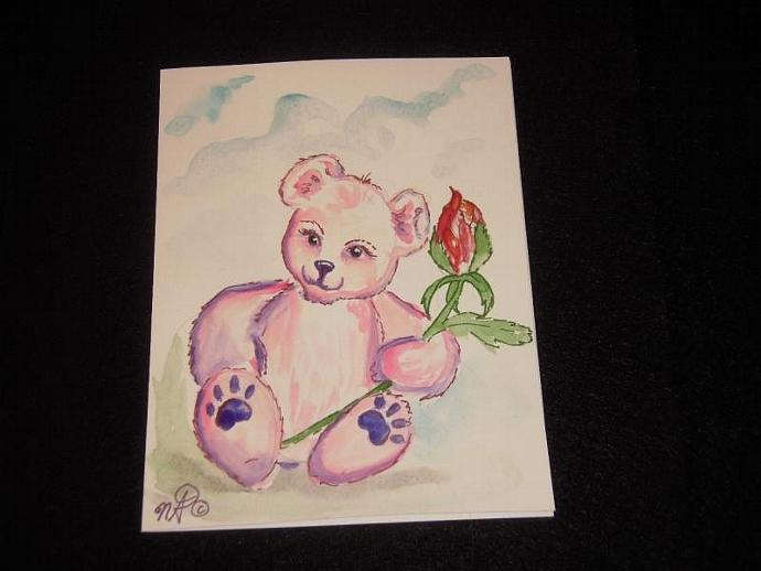 1 handpainted blank greeting card teddy bear