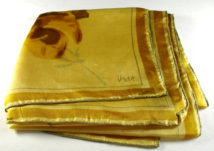 Vera Neumann Yellow Gold And Brown Roses Floral  Scarf Vintage Early 1950s