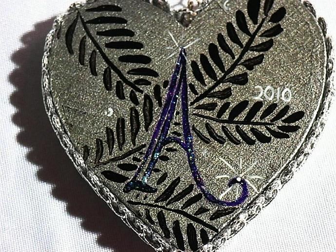Elegant personalized ornament heart with YOUR initial silver or gold wood with