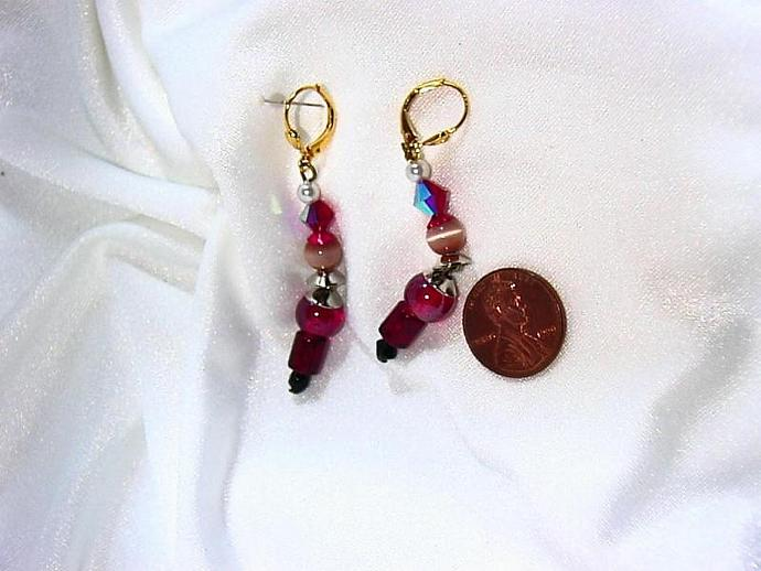 lever back gold plated bobbley head SANTA earrings with czech glass and crystal