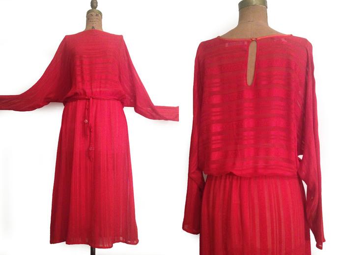 Vtg. RITA Angelo Bergdorf Goodman Red Sheer Silk Dolman sleeve SwingDress