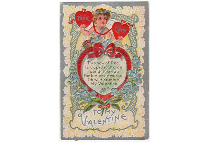Antique Valentines Day Postcard, Cupid, True Love, Arrows 1910s Greeting,