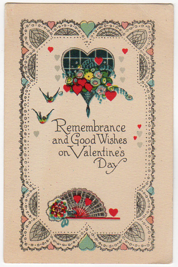 Vintage Art Deco Valentine Postcard 1930s Red Hearts, Birds, Flowers, Hand Fan