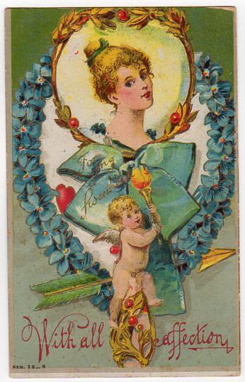 Vintage Valentines Day Greeting Postcard 1910s Cherub Beautiful Lady