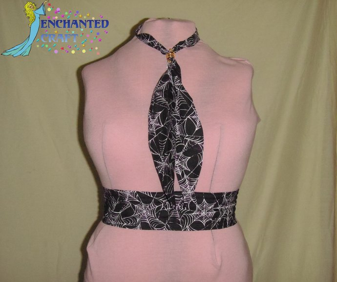 black & purple Spiderweb Tie & Belt SET perfect for Square Dancers