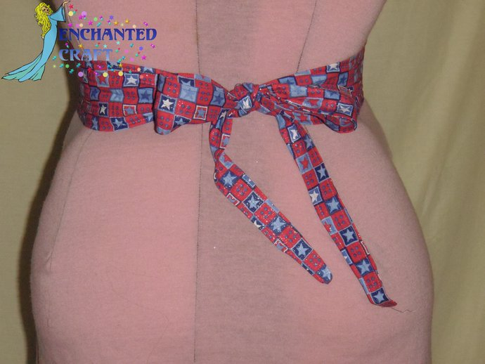 Patriotic red, white, blue, Tie & Belt SET perfect for Square Dancers 4th july,