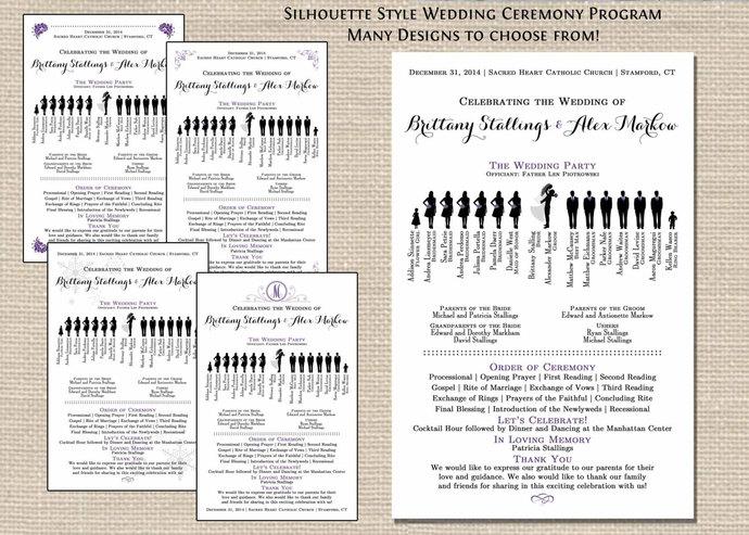 Silhouette Wedding Ceremony Program PDF Bridal Party Silhouettes