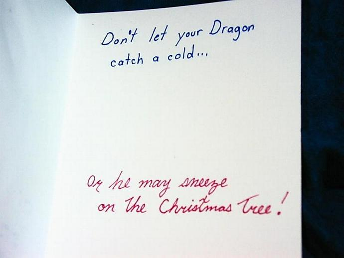 2 Funny dragon Christmas greeting cards- handpainted watercolor OOAK cards