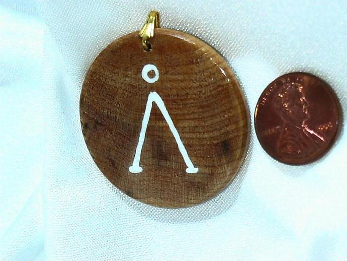 STARGATE lovers own an earth glyph painted on a beautiful wood pendant BONUS