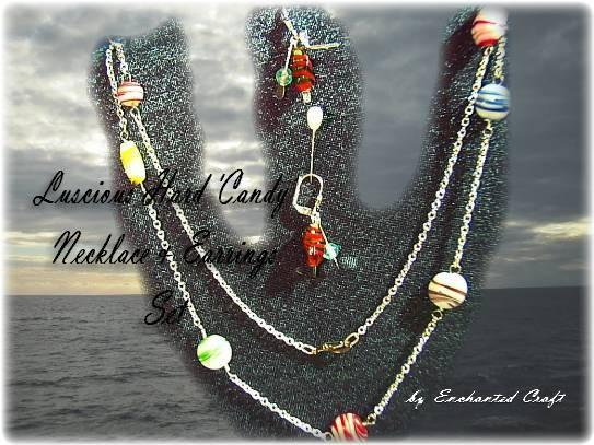 Luscious Hard Candy glass bead Necklace and Earrings SET.