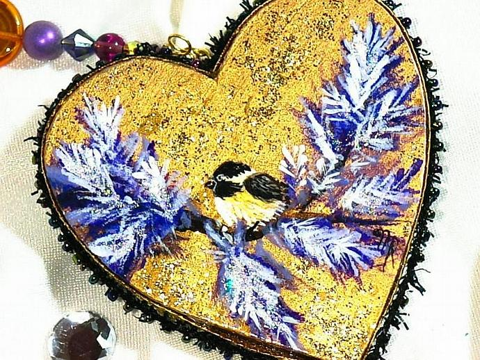 Hand painted CHICKADEE on gold wooden heart ornament with crystal beaded hanger