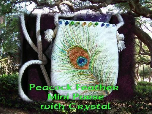 painted metallic PEACOCK feather Bag- with crystals mini bag, cozy carry your