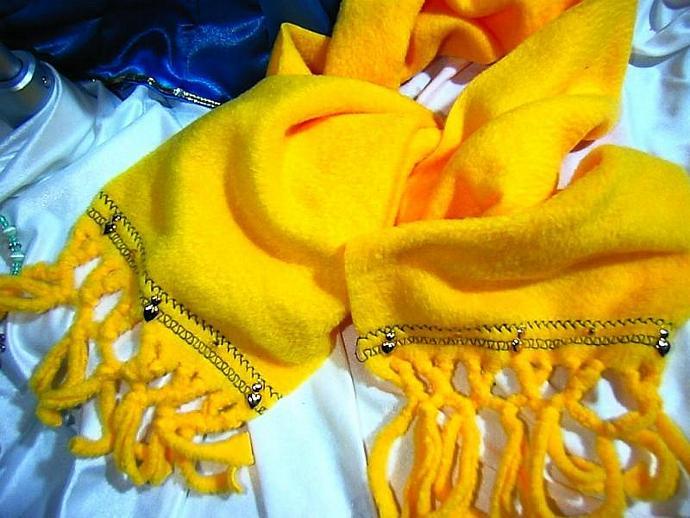 warm Hand Beaded yellow fleece scarf with fringe