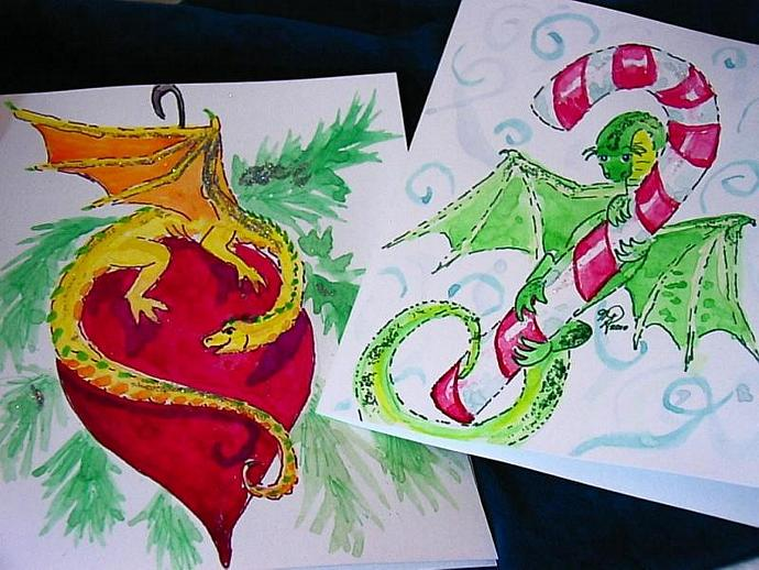 handpainted watercolor christmas dragons by enchantedcraft on Zibbet