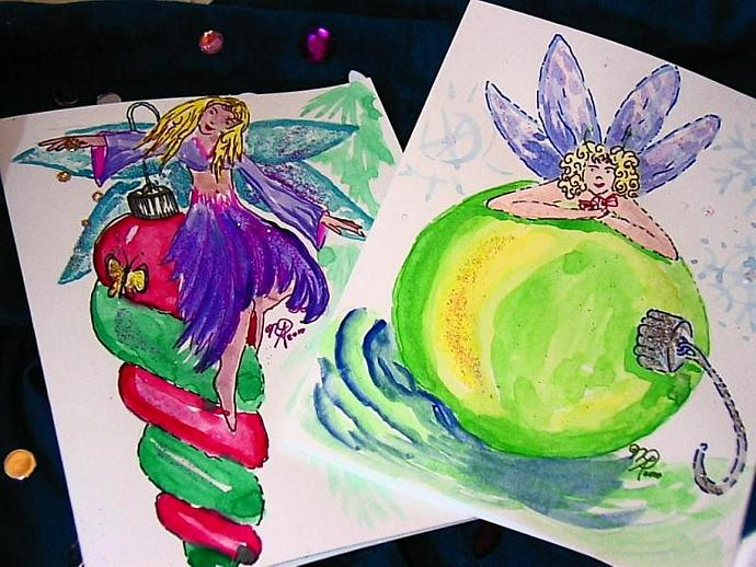 handpainted watercolor christmas fairies greeting cards 2 in the set