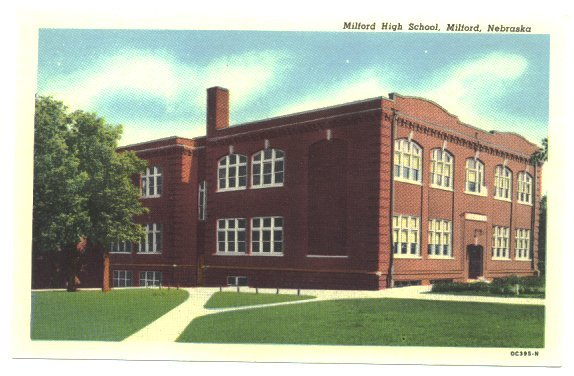 Milford Nebraska Postcard, Vintage High School Town View Post Card, Curteich