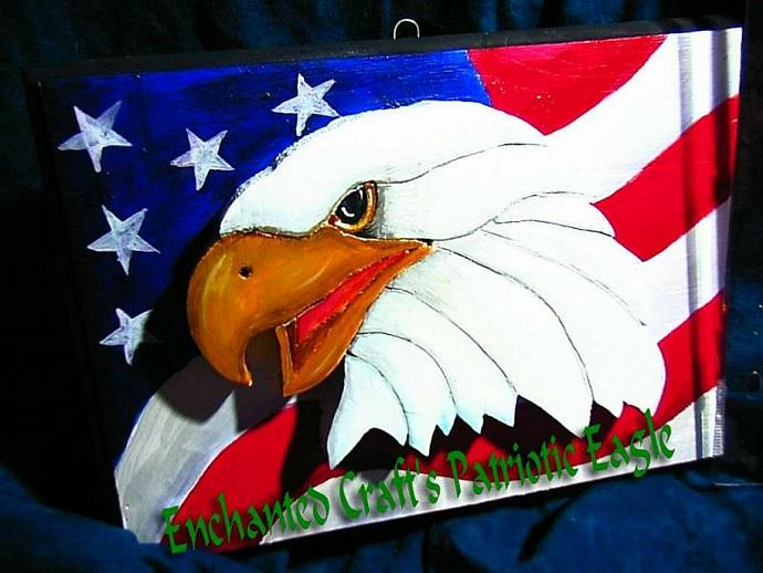 3-D PATRIOTIC EAGLE painted wood sign OOAK perfect gift for military person