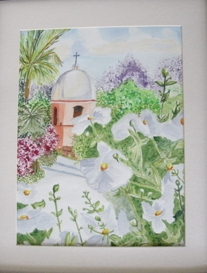 Spanish Mission Watercolor Painting, fine art, realism, original, landscape,