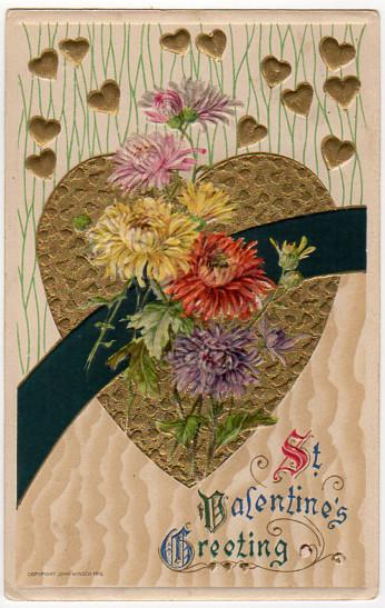 Vintage Winsch Valentine Postcard, Gold Hearts, Floral, Embossed 1910s Post
