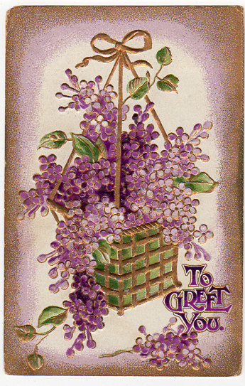 Antique Greeting Postcard 1910s Embossed Floral To Greet You Basket of Purple