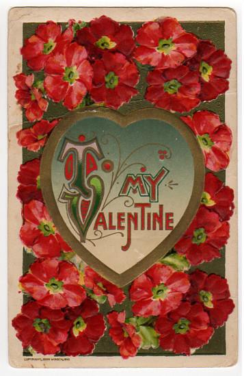 Vintage Valentine Postcard 1910 John Winsch Red Flowers Gold Heart, Alma Jorn,