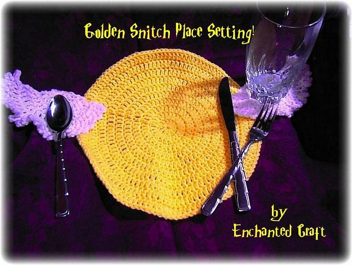 Harry Potter Golden Snitch placemat or place setting CAN protect a table from  a