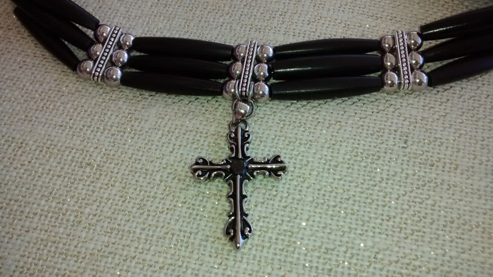3 Strand Black Hornpipe Choker with Stainless Steel Cross