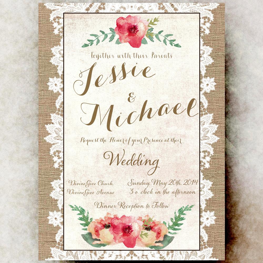 Burlap and Lace Wedding Invitation - by DivineGiveDigital on Zibbet