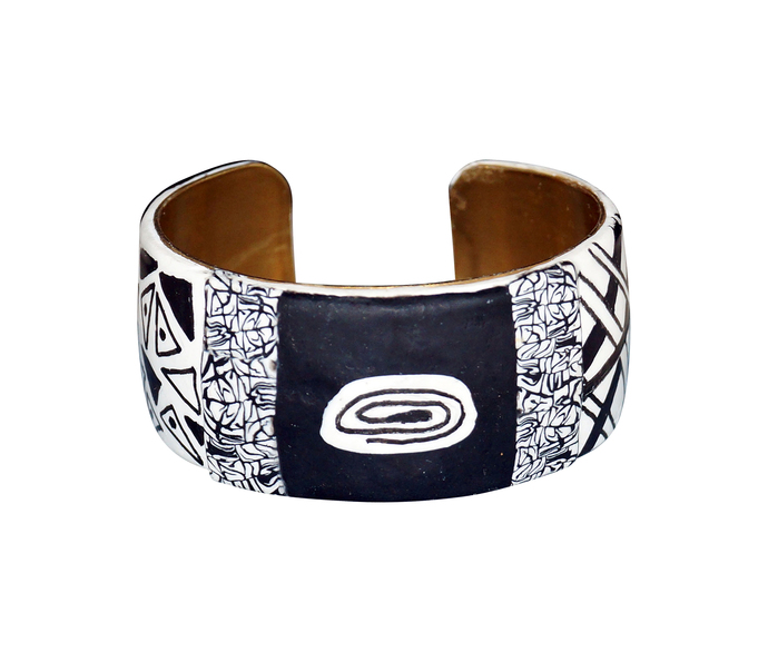 Black and White Zentangle Polymer Clay Wrist Cuff