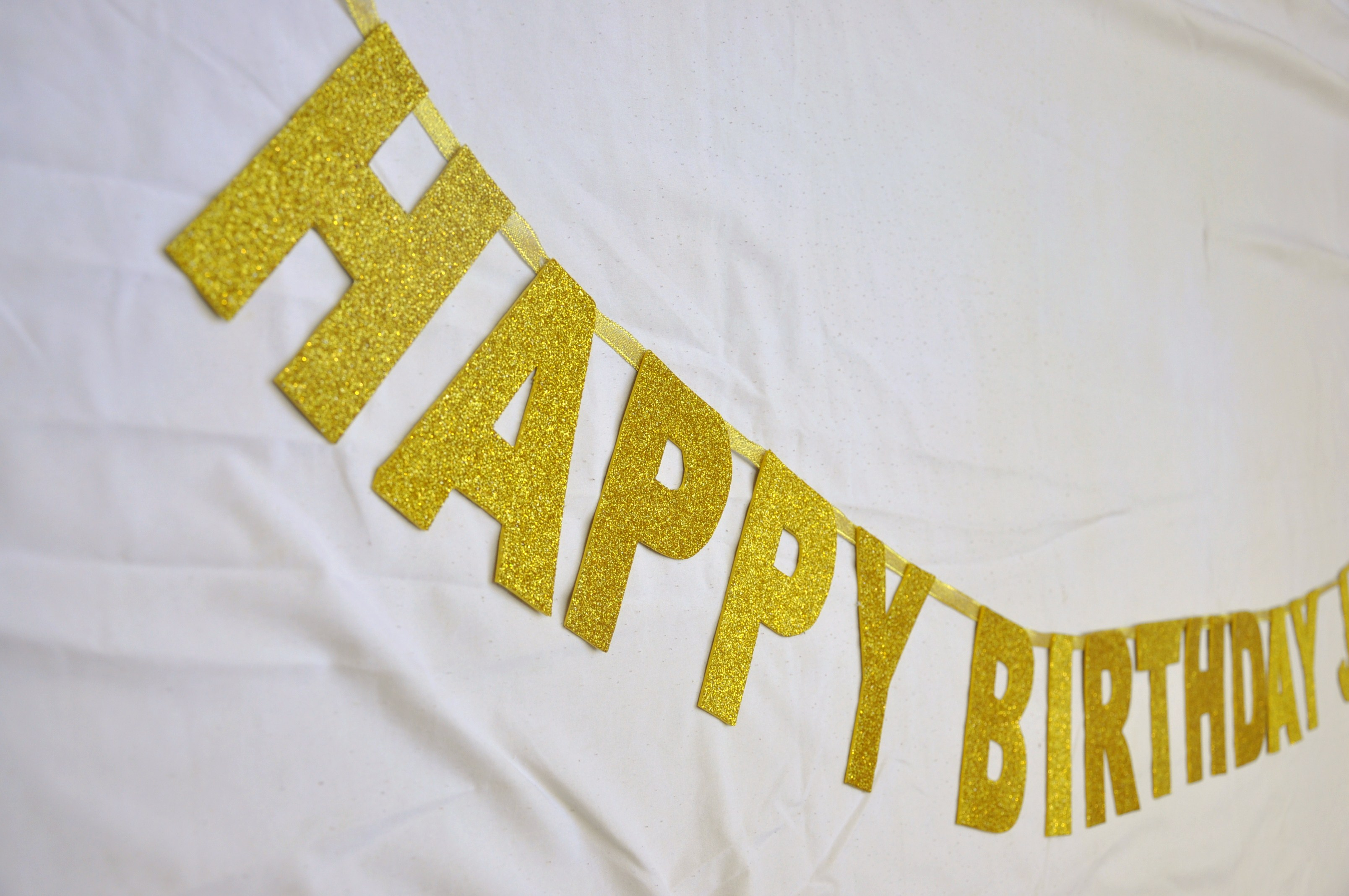 happy birthday banner - shiny garland - by loiseaubleu on Zibbet