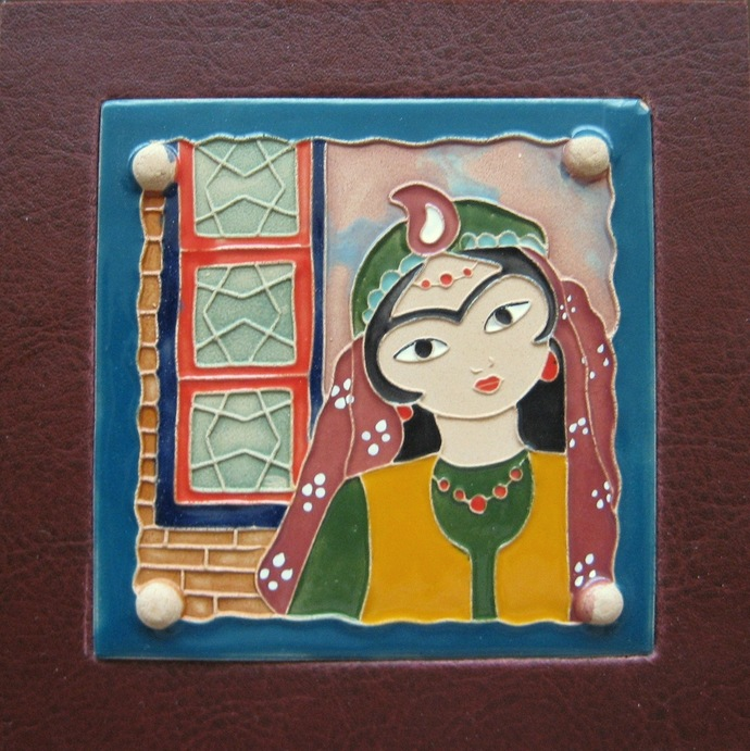 Wall hanging decorative clay tile with the picture of girl dressed in eastern